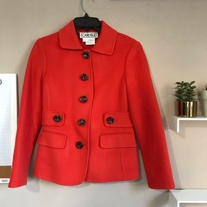 Carlisle Classic Button Down Pocket Coat Red Wool